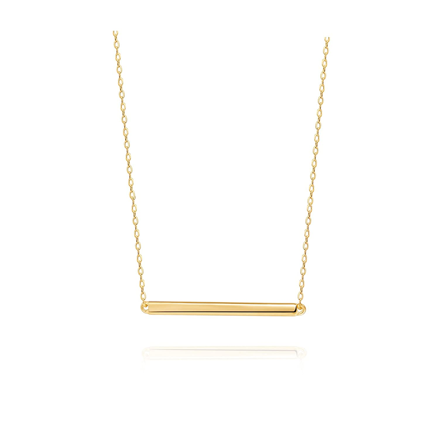 S.Leaf Bar Necklace Sterling Silver Minimalism Line Necklace Horizontal Bar Necklace CO-N013-G