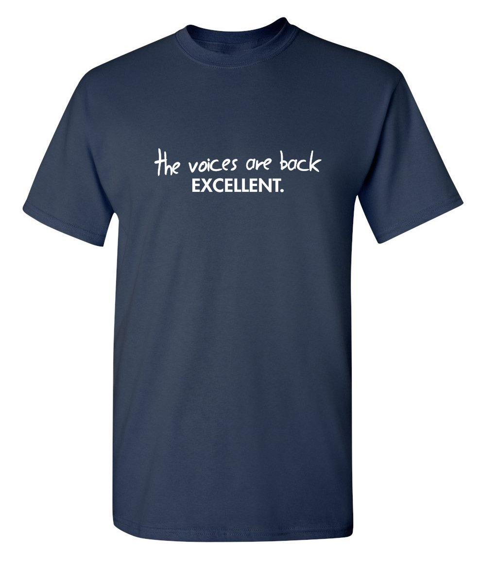 Voices Are Back Graphic Novelty Sarcastic Funny T Shirt 3 Navy
