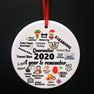 AOLUNO Christmas Ornaments 2020 Commemorative Plates Ornament Christmas Decorations Ceramics Xmas Tree Hanging Decor -A Year to Remember - Signle Sided