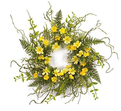 Melrose International Yellow Wild Flower Wreath,