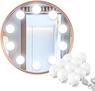Vanity Mirror Lights, Hollywood Style USB Powered Makeup Mirror LED Lights with 10 Dimmable Light Bulbs Flexible Lighting Fixture 7000K for Bathroom,Makeup Dressing Table
