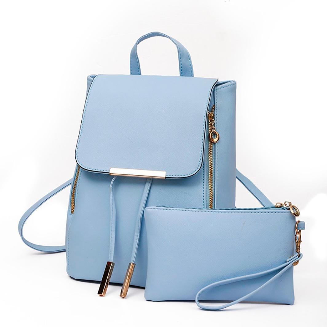 DDLBiz 2Pcs Fashion Women Girls Leather Backpack Travel School Handbag Clutch Bag (Blue)