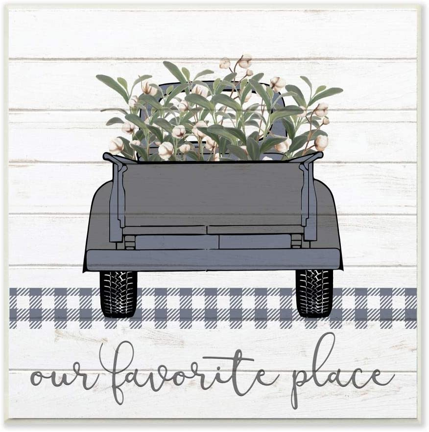 Stupell Industries Favorite Place Truck Wood Texture Blue Word Design Wall Plaque, 12 x 12, Multi-Color