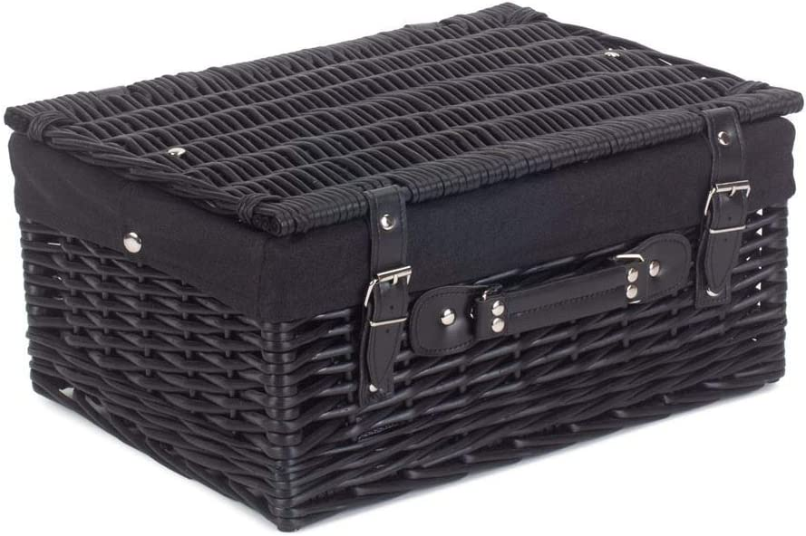 Red Hamper 41cm Empty Black Willow Picnic Basket With Red Lining