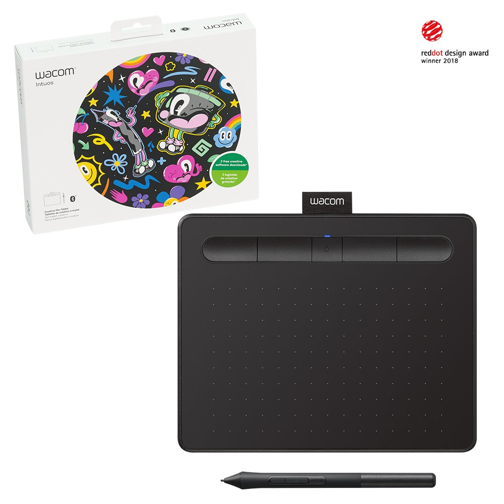 Wacom Intuos Wireless Graphic Tablet, with 2 Free Creative Software downloads, 7.9'' x 6.3'', Black (CTL4100WLK0)
