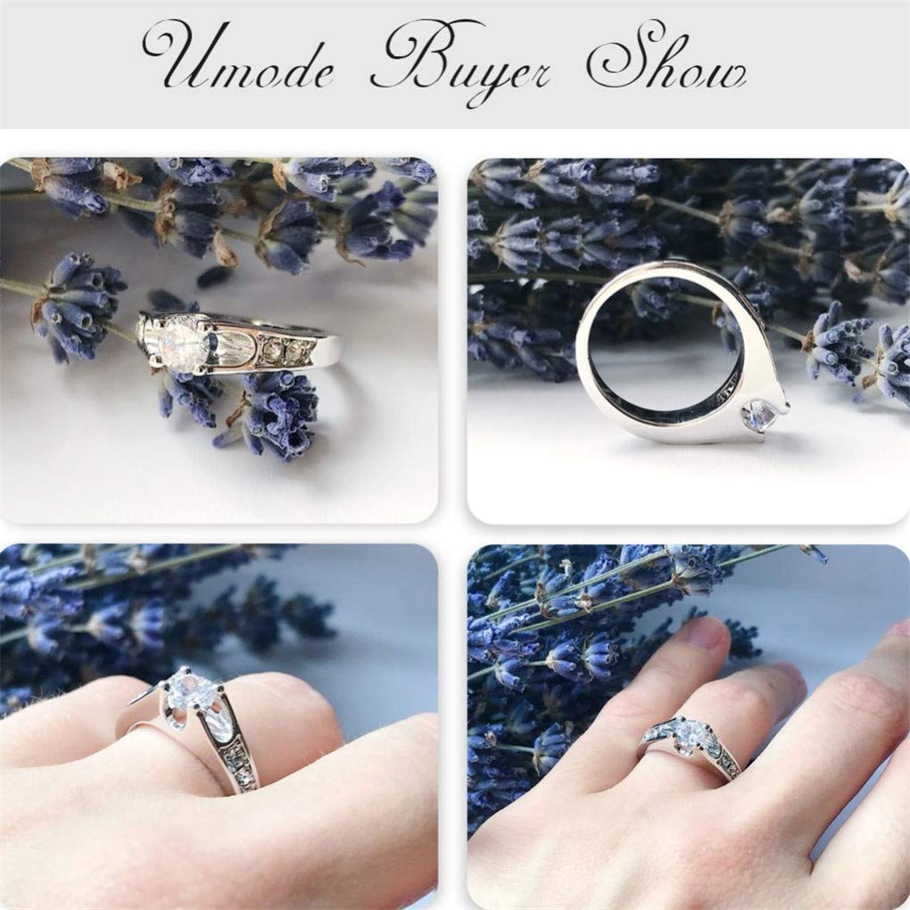 Ferusshomic Rose Gold Color Mounting 0.5 Ct Zirconia Engagement Rings 6.5