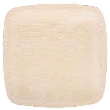 Bambu 063200 22 9 Cm Quadratische Einweg Bambus Teller 25 Pack
