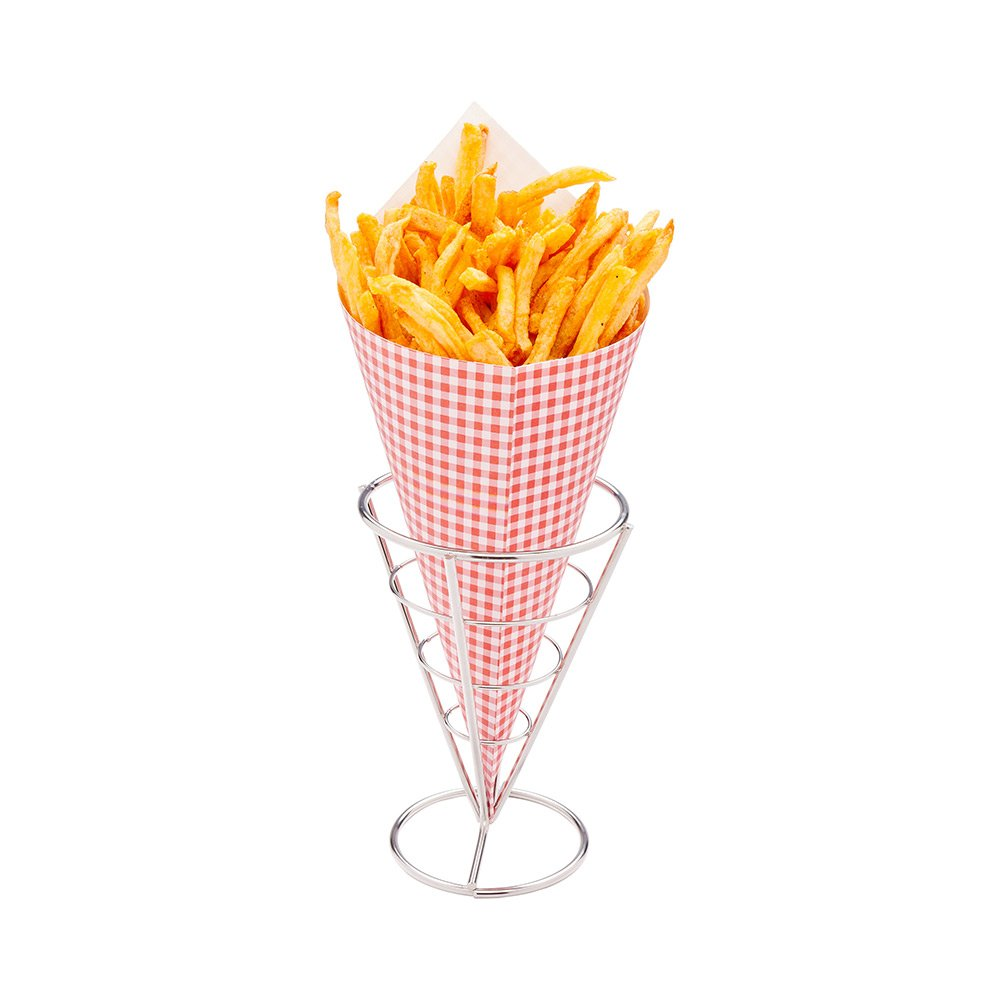 Small Food Cone Holder, Fry Paper Cone Holder, Snack Cone Holder - Stainless Steel - 4'' x 4'' x 5.5'' - 1ct Box - Restaurantware