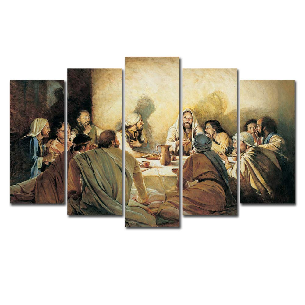Horgan Art 5 Pieces Last Supper Canvas Print Wall Art, Jesus Picture Home Decor Religious Christ Apostles Painting Artwork for Living Room Decorations (No Frame)