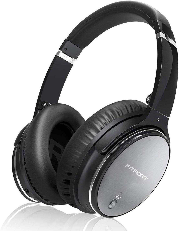 Auriculares Bluetooth FITFORT Cascos Inalámbricos de Diadema con Bluetooth 4.1, Cancelación Activa de Ruido, Plegable con Estéreo, Micrófono Incorporado,para iPhone,Android,PC,TV,Tablets