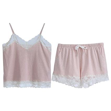 Pijamas Summer Sexy Thin Ladies Conjunto Dos Piezas para Sling HUXIUPING (Color : Pink,