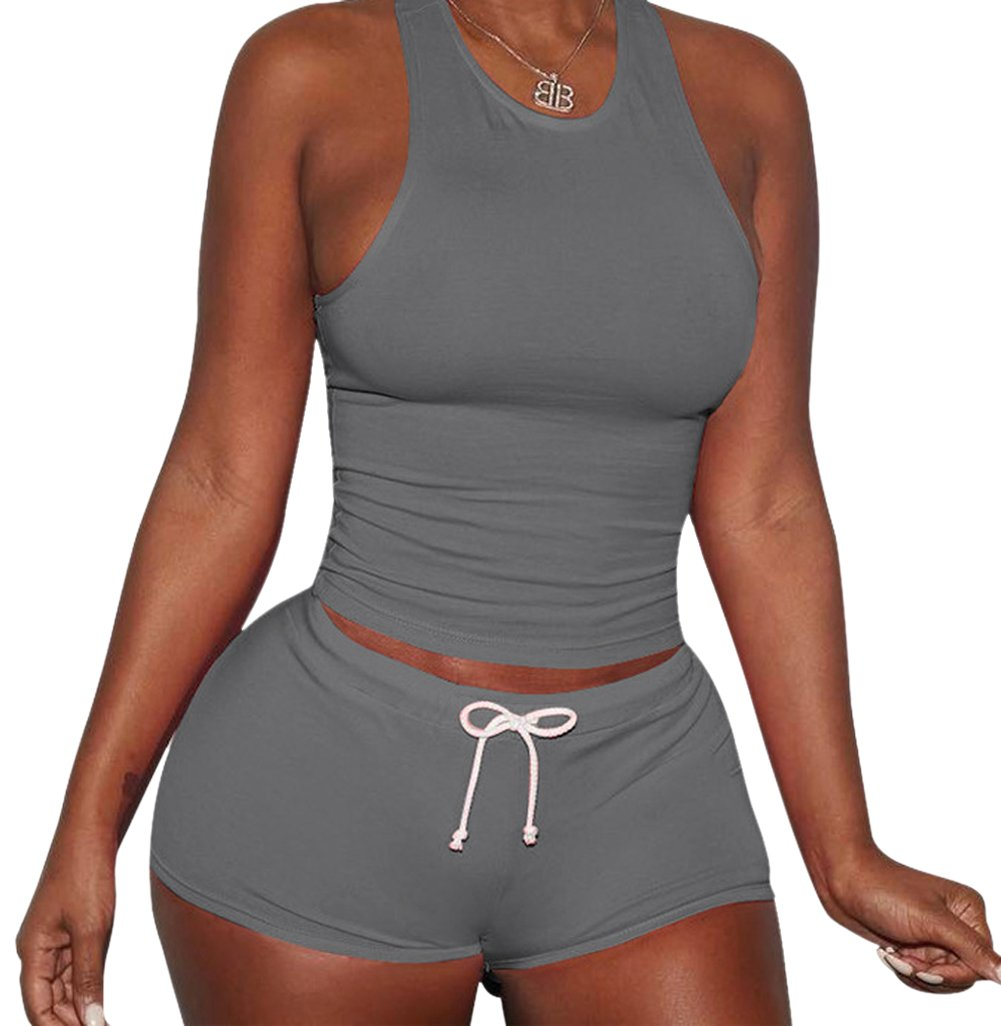 Hansoul Women's Sleeveless Crop Top Shorts Gym Jogging Tracksuit Sets Outfit