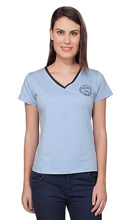 858ff48a8 Harvard Sky Blue Cotton Blend Printed V-Neck And Half Sleeve T-Shirt ...