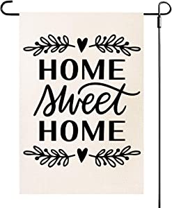 ZanLLW Summer Fall Home Sweet Home Welcome Burlap Garden Flag, Double Sided Decorative Flag, Small Size House Yard Flag, Seasonal Garden Yard Banner and Decoration, Vertical Outdoor Flag, 12.5x18 Inch