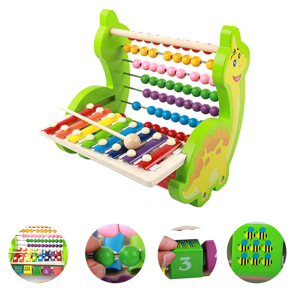 MG.QING 8 Tone Knocking Piano Children's Wooden Toys Multi-Function Dinosaur Knocking Piano Computing Stand Early Education Puzzle Digital Beading by MG.QING