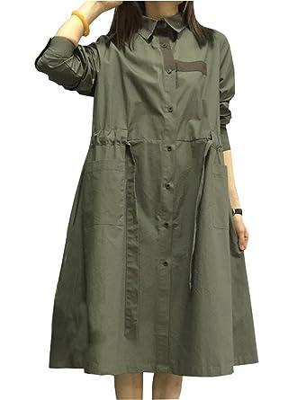 9ea8723984b Minibee Women s Single Button-down T-shirt Dress with Drawstring Army Green  M