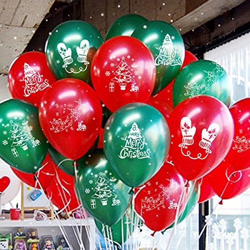 Funi 100pcs 10'' Printed Latex Balloons Christmas Balloons Pure Pearl Helium Christmas Decorations Mixed Assorted Balloons (Balloons Latex Christmas)