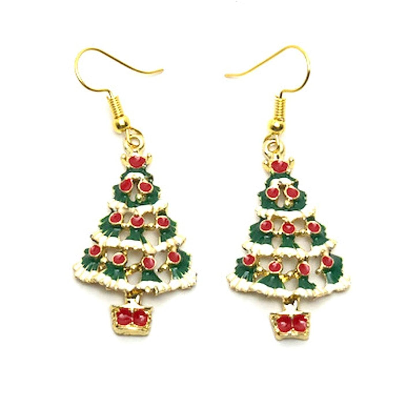 ac7c3ab46 Amazon.com: Christmas : Epoxy Christmas Tree Dangle Fish Hook Earrings For  Women / AZAEXM011-GMU: Jewelry