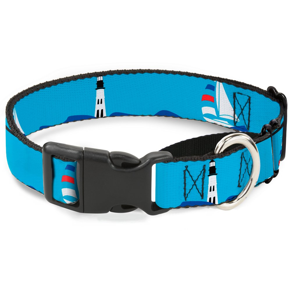 Buckle-Down Boats On The Water Martingale Dog Collar, 1  Wide-Fits 9-15  Neck-Small