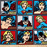 Camelot Fabrics DC Comics Girl Power Fleece Blocks, Yard, Multi