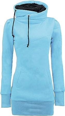 ShallGood Mujer Otoño Sudadera con Capucha Largo Casual Deportiva Cuello Alto Deporte Manga Larga Camisetas Camisa Entrenamiento Tops Azul Claro UK 10