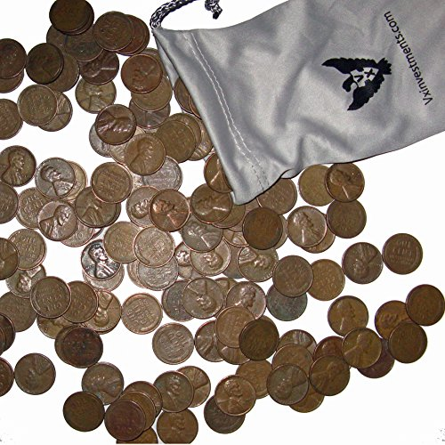 - 100 U.S. Wheat Pennies in a Custom Vx Investments Microfiber Pouch (2 Rolls of U.S. Wheat Cents).  100 Old Coins.