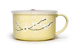 Microwavable Ceramic Noodle Bowl with Handle and Seal Fine Porcelain Sakura Snow Flake Floral Design (LemonYellow)