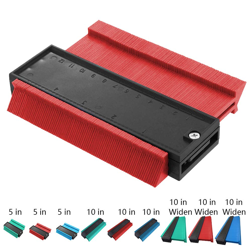 Contour Gauge 10 Inch Irregular Profile Duplicator for Woodworking Shape Tracing Template Measuring Tool Profile Jig Guide Pipe Tile Frame Gauge Metal Welding Fabrication Silhouette Extraction Measure