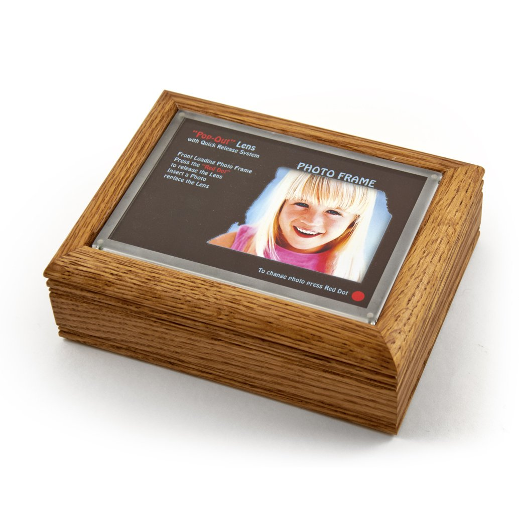 4'' X 6'' Oak Photo Frame Music Box With New Pop - Over 400 Song Choices - Out Lens System English Country Garden