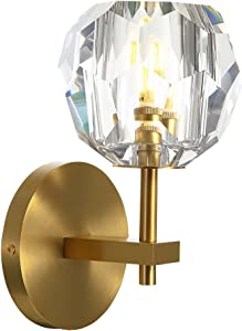 NOXARTE Crystal Wall Sconces Lighting Brass Body Ball Shade Bedside Lamp Flush Mount for Indoor Loft Hallway Living Room