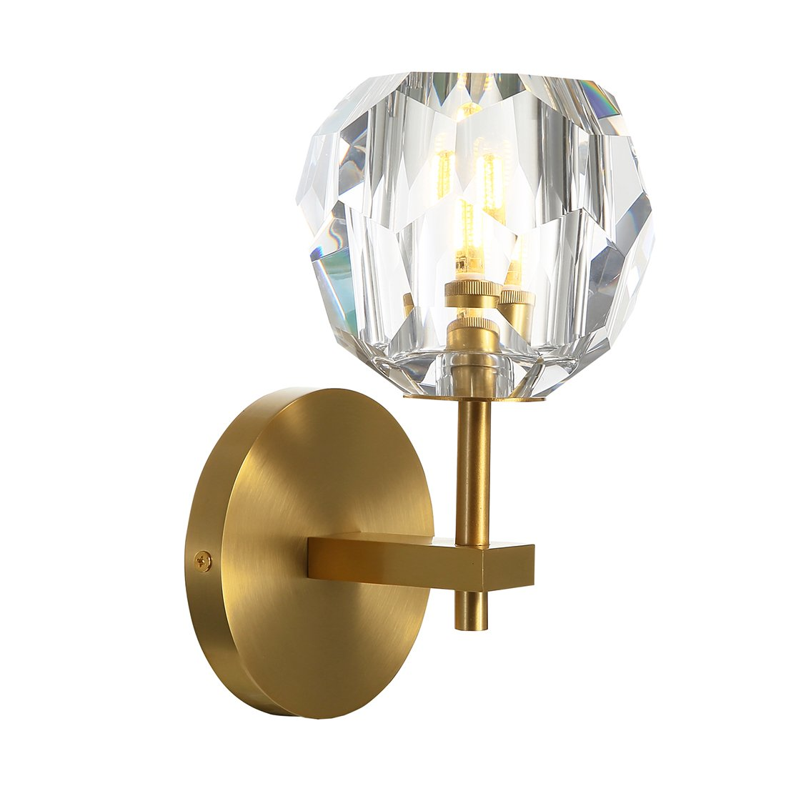 Yue Jia Top K9 Crystal Ball Wall Sconce Brass Material Body Wall Mounted Light Rustic Industrial Vintage Flush Mount Wall Light Crystal Globe Lampshade Brass Wall Sconce Wall Lamp Lighting Fixture