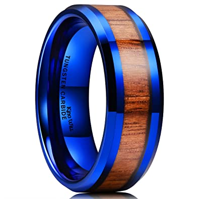 King Will Nature 8mm Mens Blue Tungsten Carbide Ring Wood Inlay
