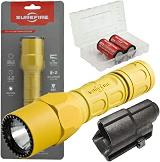 product image for Surefire G2X Pro 600 Lumen Dual-Outputs LED Flashlight Bundle with V70 Holster, 2 Extra CR123A Batteries and Lightjunction Battery Case (Yellow)