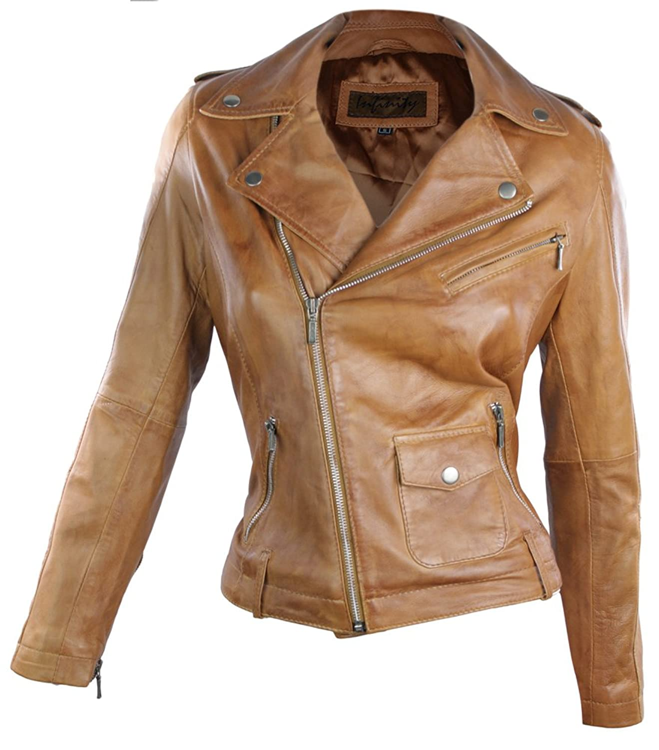 100% Ladies Leather Jacket Biker Style Retro Tan Brown Soft ...