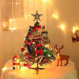 "24""/60cm Tabletop Xmas Tree, Artificial Mini Christmas Pine Tree with LED String Lights & Ornaments (Green)"