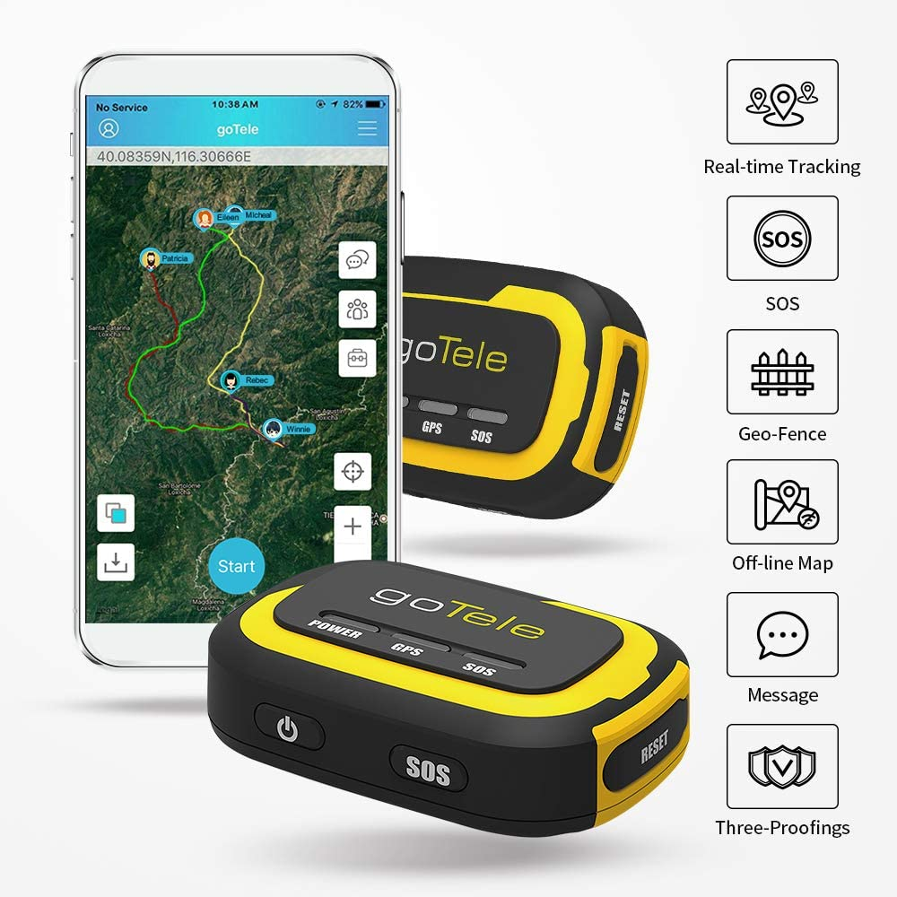 goTele GPS Tracker, No Monthly Fee No Network Required Mini Portable Off-grid Real Time GPS Tracking Device for Outdoor Hiking, Hunting, Kids and Pets Tracker 2 Pack