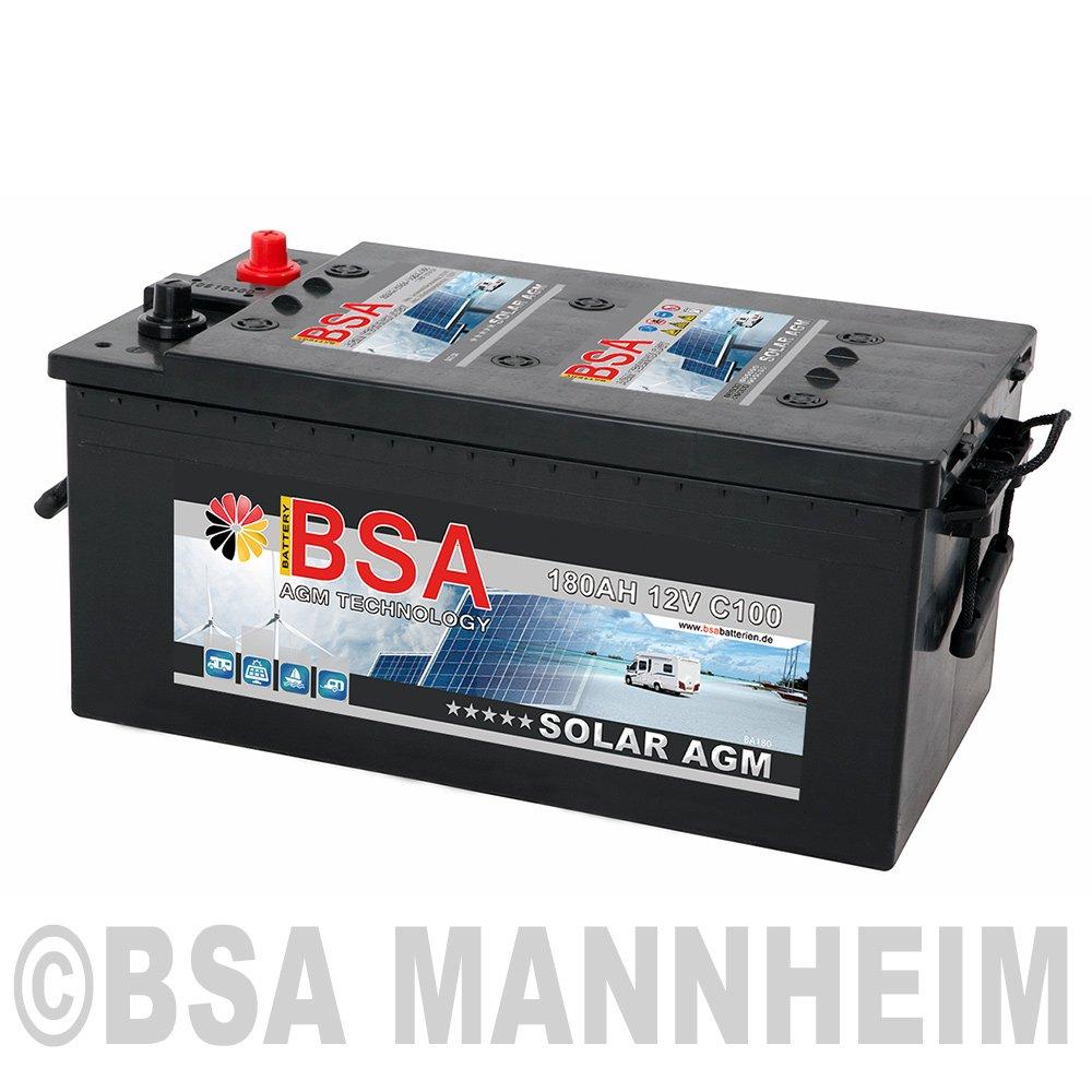 BSA Solarbatterie 12V 180Ah Solar Akku Wohnmobil Boot Schiff Versorgung AGM Gel Batterie Solar AGM BA180