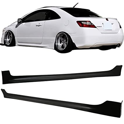 Side Skirts Fits 2006-2011 Honda Civic | Black PU Sideskirts Rocker  Moulding Trim Bottom Line by IKON MOTORSPORTS | 2007 2008 2009 2010