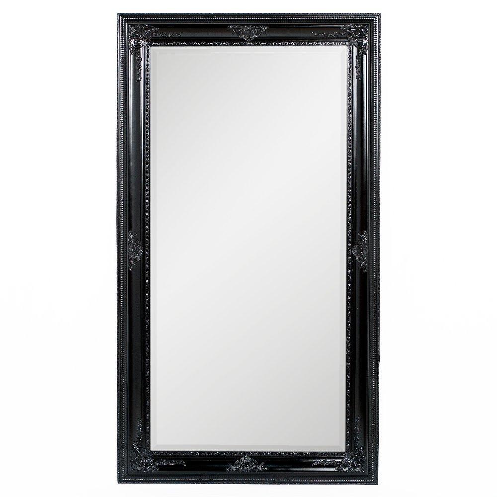 LEBENSwohnART Spiegel Eve 180x100cm Shiny-schwarz Barock Pompös Wandspiegel Design Holzrahmen