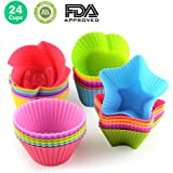LKE Nonstick Cupcake Liners, Reusable and Heat Resisant Baking Cups, Round / Heart / Rose / Star Shape Silicone Cake Muffin Molds for Professional or Starter Cooker(Pack of 24)