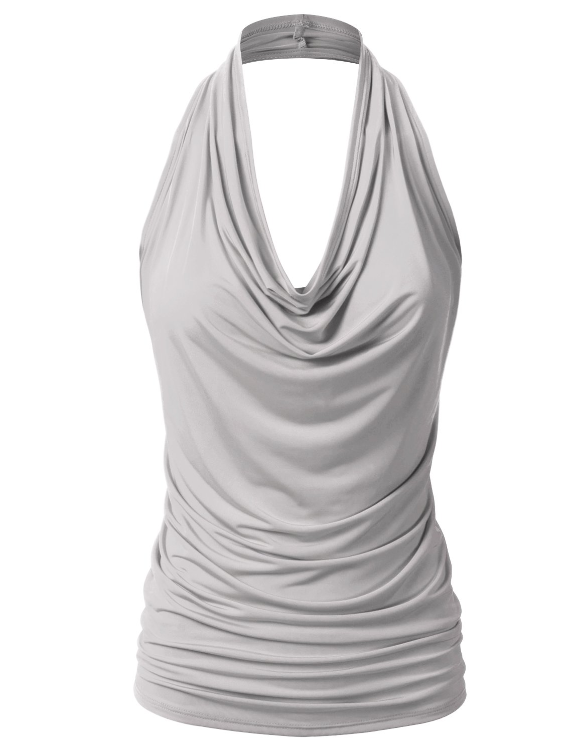EIMIN Women's Casual Halter Neck Draped Front Sexy Backless Tank Top Silver 1XL