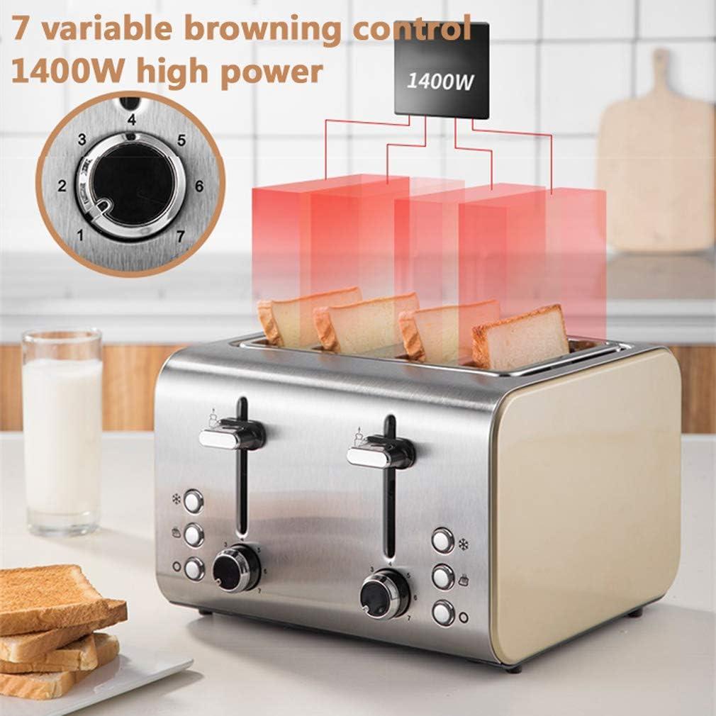 MIAO. 4 Slice Toaster, 1400W de Acero Inoxidable Tostadora - 7 ...