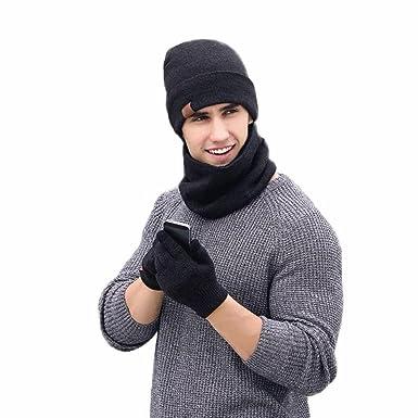 c96906cf2 Plain Men Hat Scarf Gloves Sets Wool Knitted Beanies Winter Warm ...