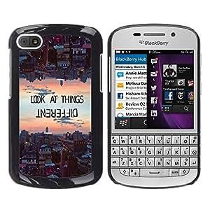 YOYOYO Smartphone Protección Defender Duro Negro Funda Imagen Diseño Carcasa Tapa Case Skin Cover Para BlackBerry Q10 - mirar las cosas de manera diferente de motivación