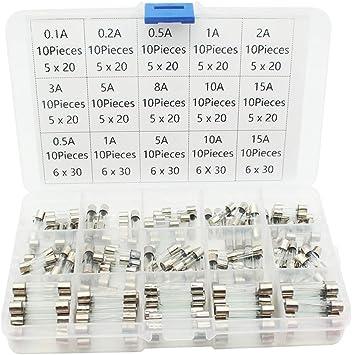 5X20MM Glass Tube Fuse Assortment Kit 250 V 0.5 A 1 A 2 A 3 A 4 A 5 A 8 A 10 A 15 A 20 A