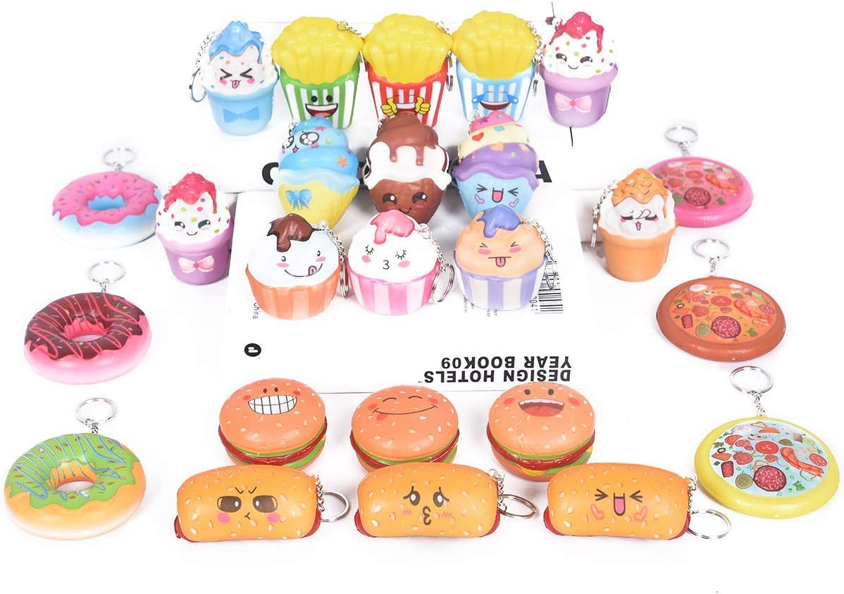 Random 20pcs Squishies Cream Scented Slow Rising Kawaii Simulation Lovely Toy Jumbo Medium Mini Soft Food squishies, Phone Straps