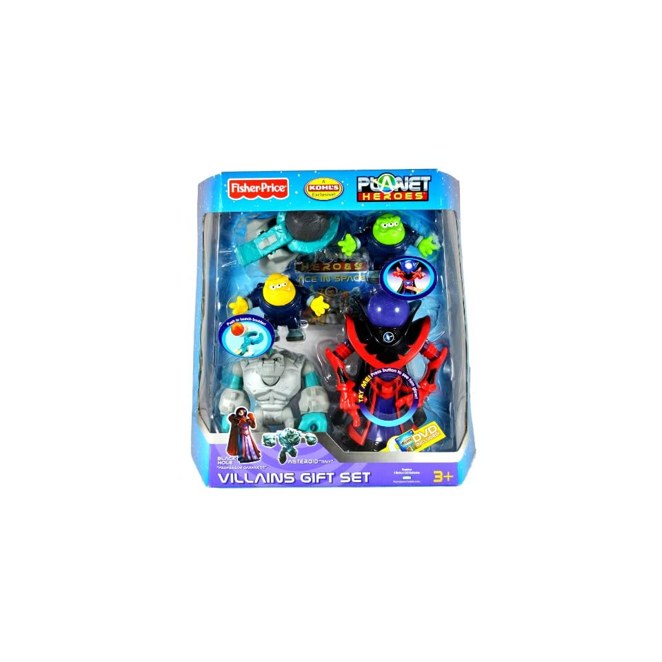Fisher Price Year 2007 Kohls Exclusive Planet Heroes Series Action Figure VillainsGift Set with BLACK HOLE PROFESSOR DARKNESS and ASTEROID TINY Plus Comet Photon, Comet Neutron, Catapult, Boulders, Trading Card and DVD