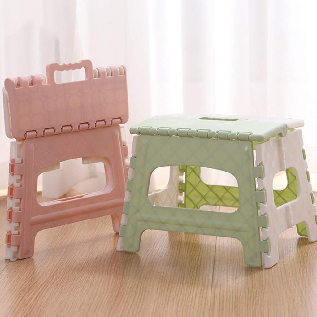 Kitchen Garden Bathroom Collapsible Stepping Stool Perfect Kitchen Step or Bathroom Step Pink H Vektenxi Folding Step Stool Compact Folding Stool Easy to Store Foldable Stool for Kids /& Adults