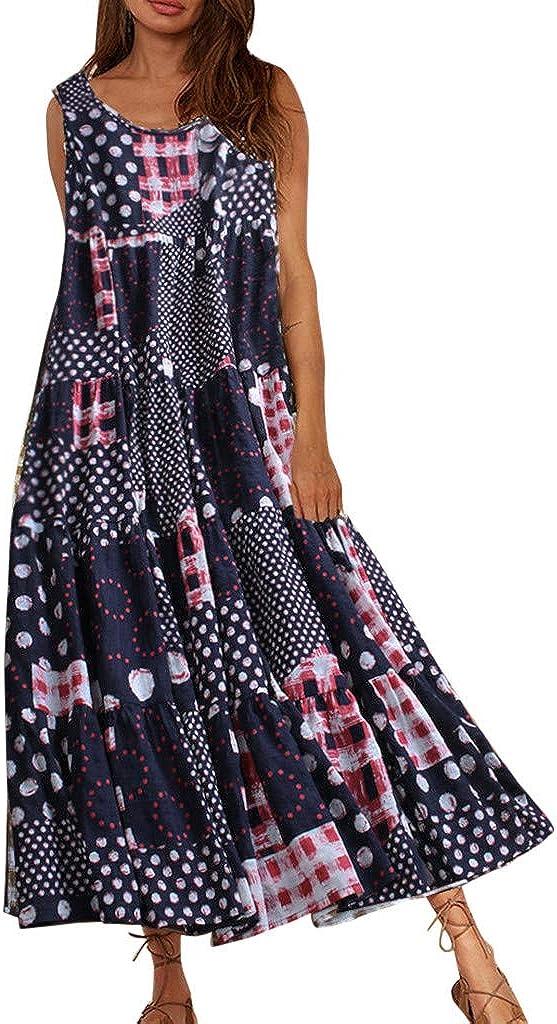 Fossen Vestidos Mujer Verano 2020 Largos Casual Estampado Sin Mangas Talla Grande - Chic Vestido de Fiesta Elegantes de Playa Vacation - Vintage Clásico Dress para Coctel Noche