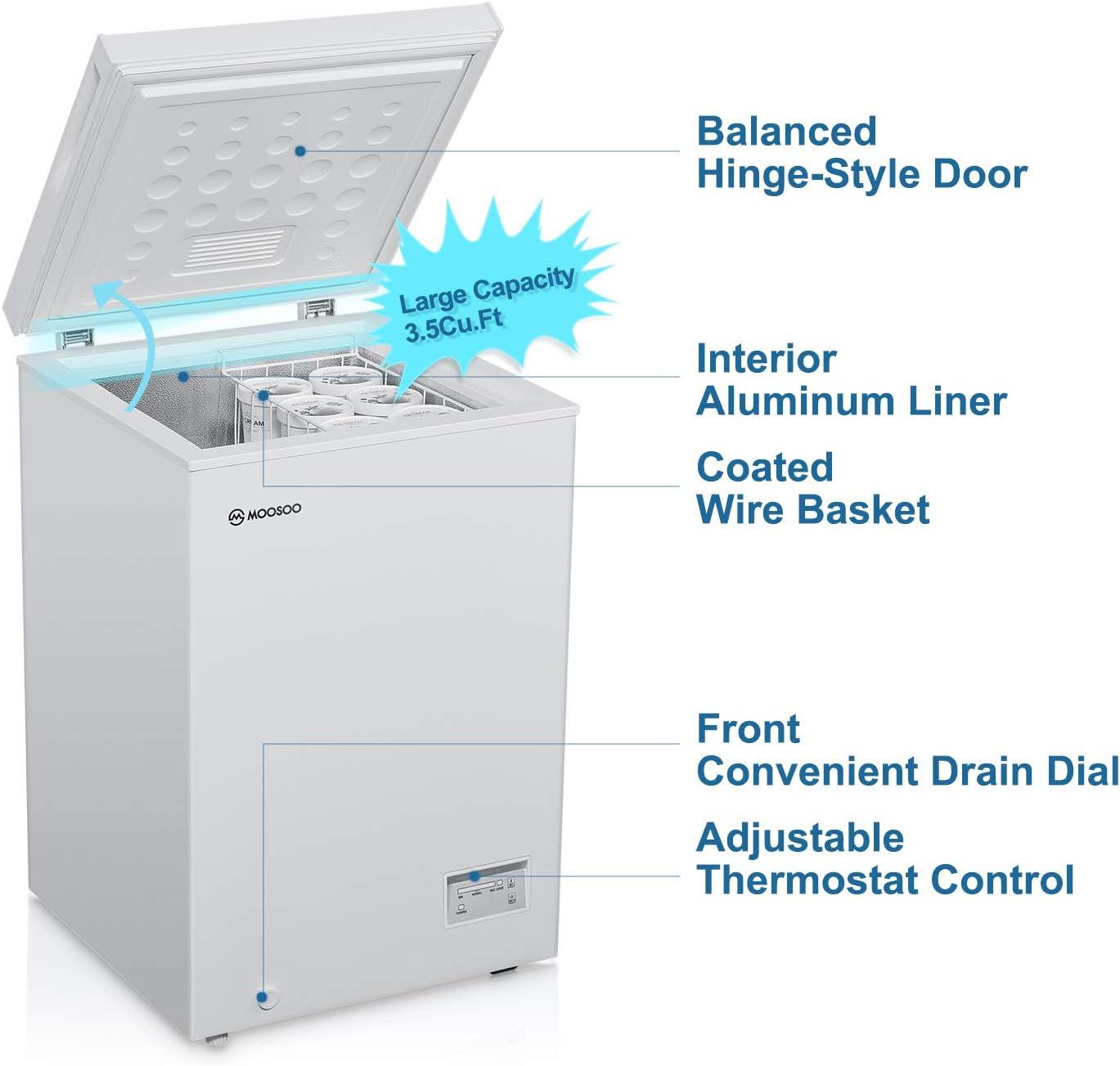 Freezers Chest Freezers White Deep Compact Freezer for Garage ...